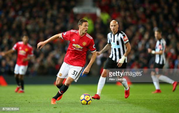 Nemanja Matic of Manchester United and Jonjo Shelvey of Newcastle United in action during the Premier League match between Manchester United and...