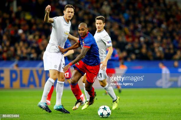Nemanja Matic of Manchester United and Vitinho of CSKA Moscow in action during the UEFA Champions League match between CSKA Moscow and Manchester...