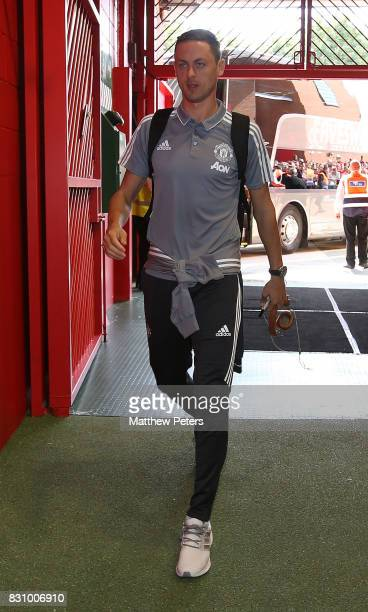 Nemanja Matic of Manchester United arrives ahead of the Premier League match between Manchester United and West Ham United at Old Trafford on August...