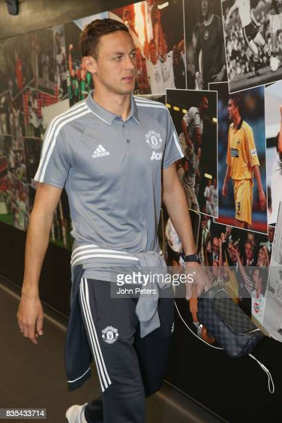 Nemanja Matic of Manchester United arrives ahead of the Premier League match between Swansea City and Manchester United at Liberty Stadium on August...