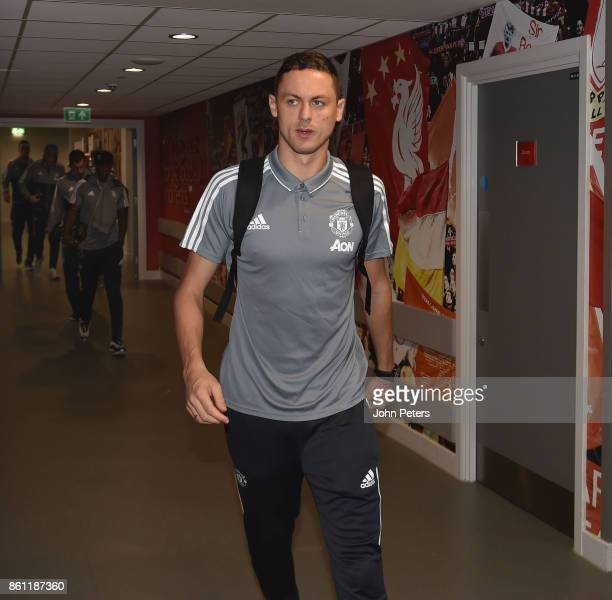 Nemanja Matic of Manchester United arrives ahead of the Premier League match between Liverpool and Manchester United at Anfield on October 14 2017 in...