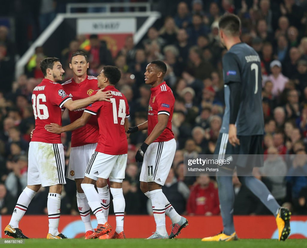 Nemanja Matic of Manchester United celebrates his part in Mile Svilar of Benfica scoring an own goal during the UEFA Champions League group A match between Manchester United and SL Benfica at Old Trafford on October 31, 2017 in Manchester, United Kingdom.