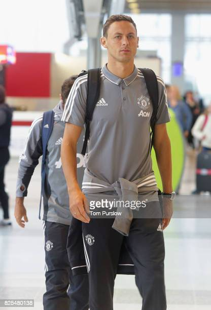 Nemanja Matic of Manchester United departs for the preseason frlendly agaist Sampdoria at Manchester Airport on August 2 2017 in Manchester England