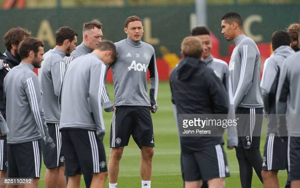 Nemanja Matic of Manchester United during a first team training session at Aon Training Complex on August 1 2017 in Manchester England