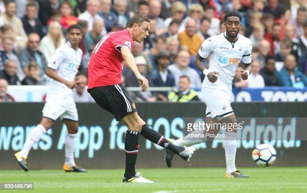 Nemanja Matic of Manchester United during the Premier League match between Swansea City and Manchester United at The Liberty Stadium on August 19...