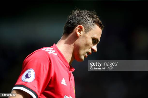 Nemanja Matic of Manchester United during the Premier League match between Swansea City and Manchester United at Liberty Stadium on August 19 2017 in...