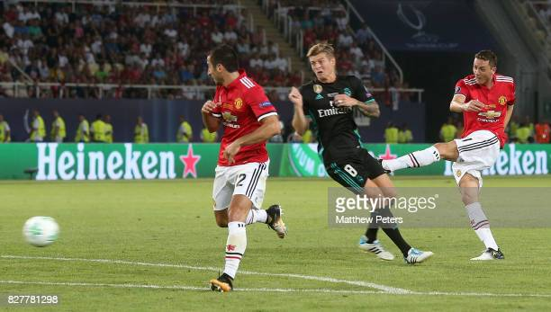Nemanja Matic of Manchester United has a shot on goal during the UEFA Super Cup match between Real Madrid and Manchester United at Philip II Arena on...