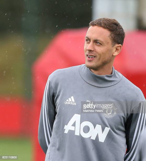 Nemanja Matic of Manchester United in action during a first team training session at Aon Training Complex on August 1 2017 in Manchester England