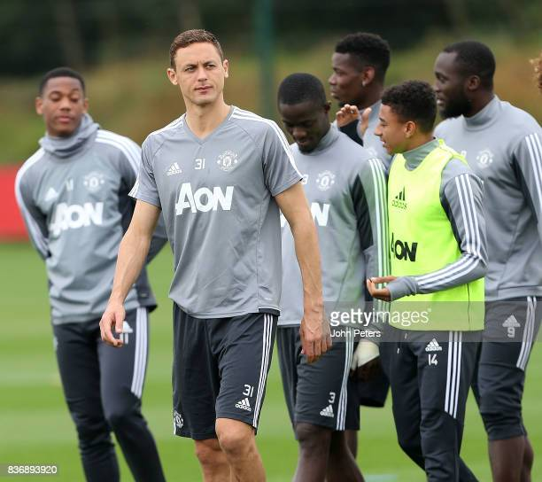 Nemanja Matic of Manchester United in action during a first team training session at Aon Training Complex on August 22 2017 in Manchester England