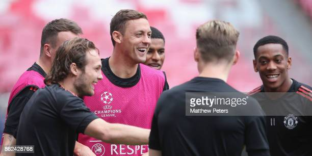 Nemanja Matic of Manchester United in action during a training session ahead of their UEFA Champions League match against Benfica on October 17 2017...