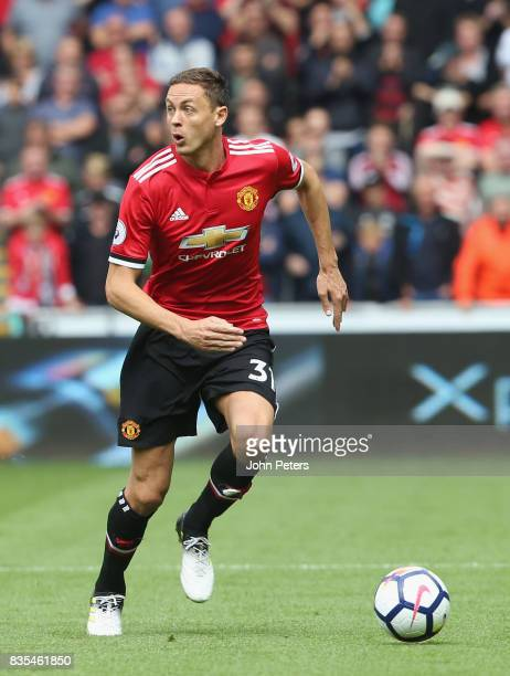 Nemanja Matic of Manchester United in action during the Premier League match between Swansea City and Manchester United at Liberty Stadium on August...