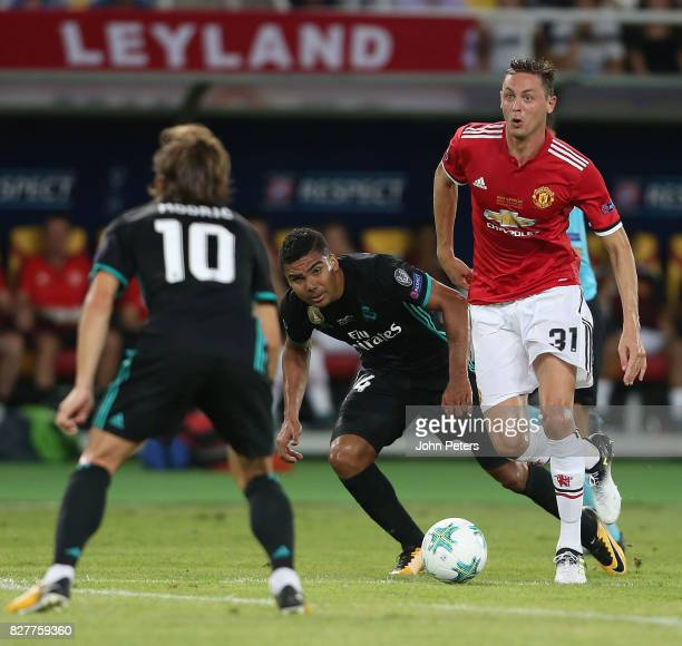 Nemanja Matic of Manchester United in action with Casemiro of Real Madrid during the UEFA Super Cup match between Real Madrid and Manchester United...