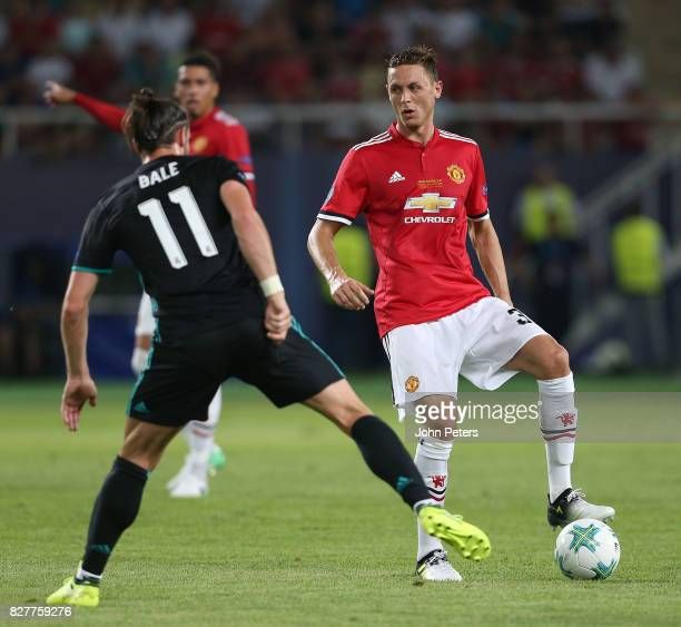 Nemanja Matic of Manchester United in action with Gareth Bale of Real Madrid during the UEFA Super Cup match between Real Madrid and Manchester...