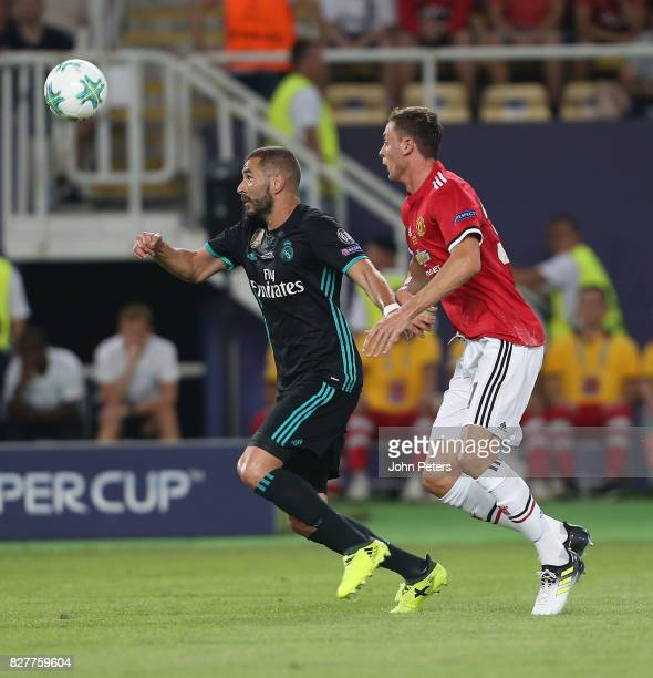 Nemanja Matic of Manchester United in action with Karim Benzema of Real Madrid during the UEFA Super Cup match between Real Madrid and Manchester...