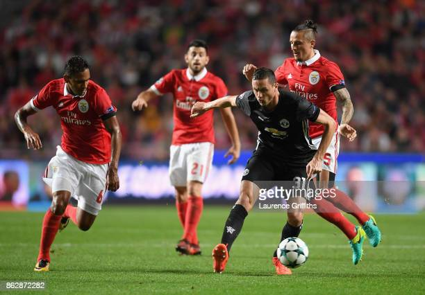 Nemanja Matic of Manchester United is put under pressure during the UEFA Champions League group A match between SL Benfica and Manchester United at...