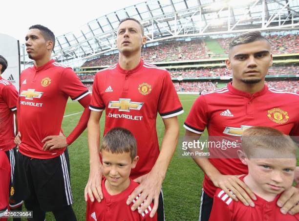Nemanja Matic of Manchester United lines up with the United team ahead of the International Champions Cup preseason friendly match between Manchester...