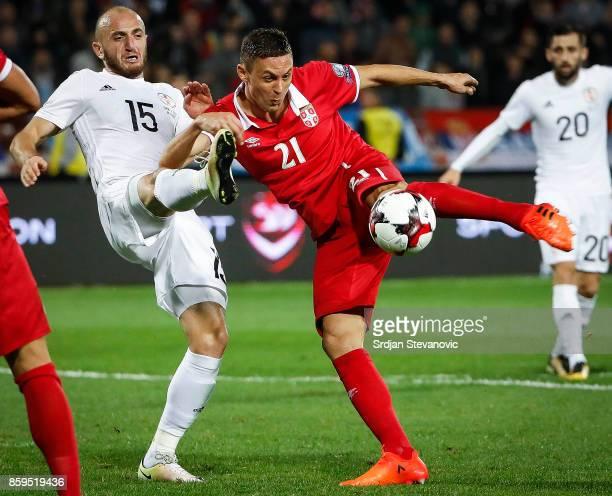Nemanja Matic of Serbia in action against Valerian Gvilia of Georgia FIFA 2018 World Cup Qualifier between Serbia and Georgia at stadium Rajko Mitic...