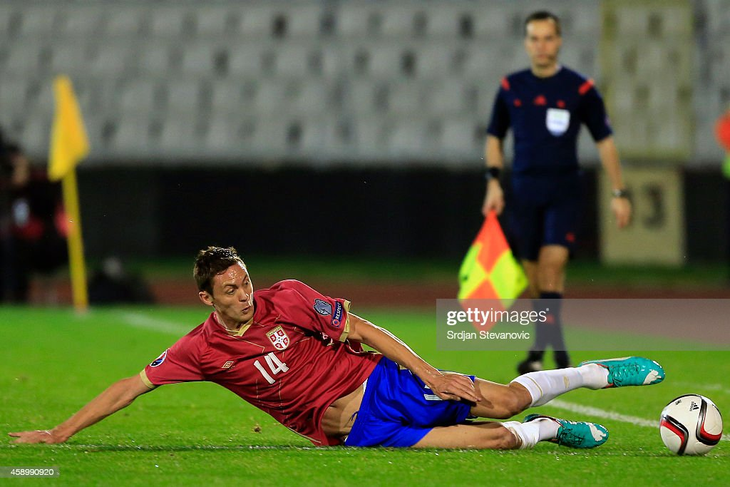 Nemanja Matic of Serbia in action during the Euro 2016 group I qualifying football match between Serbia and Denmark at Partizan Stadium on November...