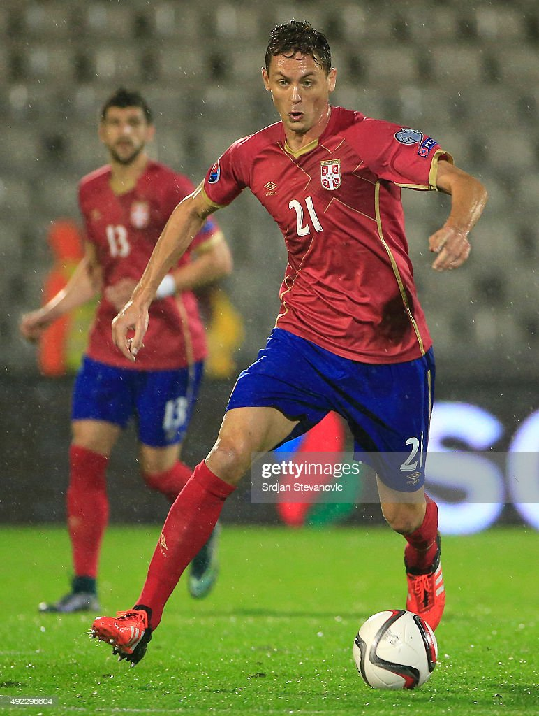 Nemanja Matic of Serbia in action during the Euro 2016 qualifying football match between Serbia and Portugal at the Stadium FC Partizan in Belgrade...