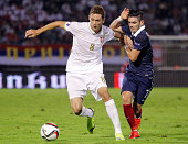 Nemanja Matic of Serbia is challenged by Remy Cabella of France during the International friendly match between Serbia and France at the Stadium JNA...