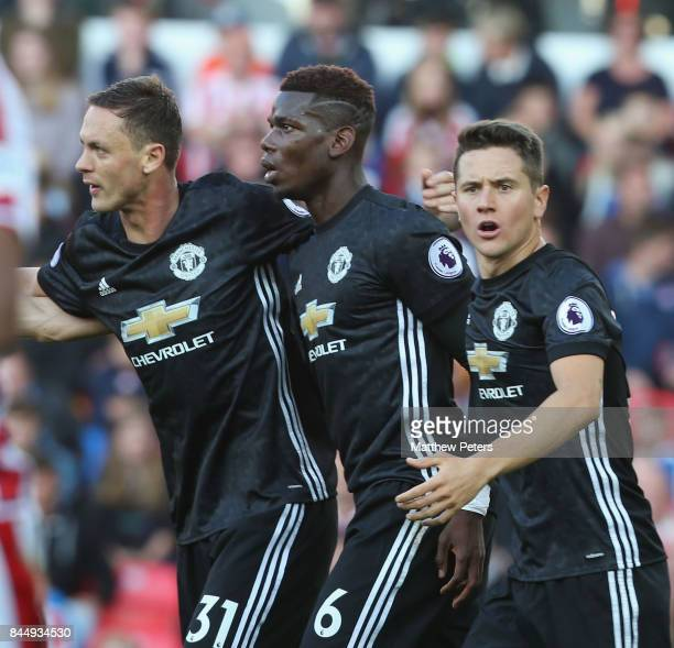 Nemanja Matic Paul Pogba and Ander Herrera of Manchester United celebrate Marcus Rashford scoring their first goal their first goal during the...
