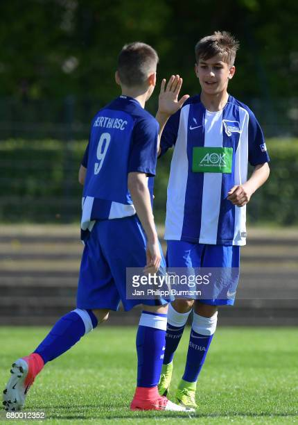 Nemanja Motika and Mustafa Abdullatif of Hertha BSC U14 celebrate the goal during the game of the 3rd place during the Nike Premier Cup 2017 on may 7...