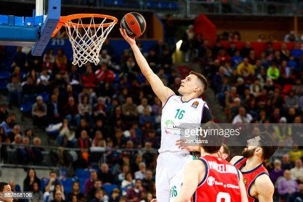 Nemanja Nedovic #16 of Unicaja Malaga in action during the 2017/2018 Turkish Airlines EuroLeague Regular Season Round 11 game between Baskonia...