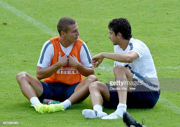 Nemanja Vidic and Andrea Ranocchia during a FC Internazionale Milano training session on July 18 2014 in Pinzolo near Trento Italy