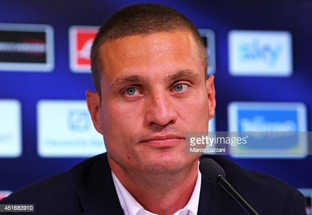 Nemanja Vidic new signing for FC Internazionale Milano speaks to the media during a press conference at the club's training ground on July 4 2014 in...