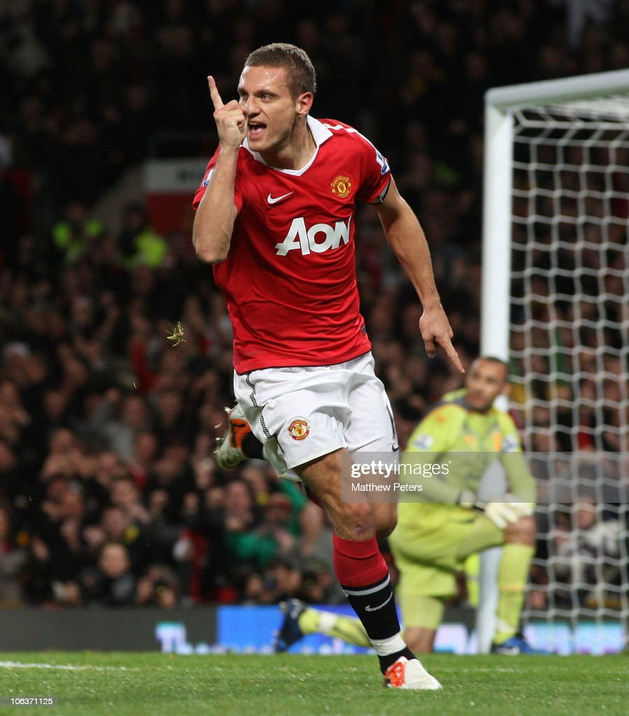 <a gi-track='captionPersonalityLinkClicked' href=/galleries/search?phrase=Nemanja+Vidic&family=editorial&specificpeople=497253 ng-click='$event.stopPropagation()'>Nemanja Vidic</a> of Manchester United celebrates scoring their first goal during the Barclays Premier League match between Manchester United and Tottenham Hotspur at Old Trafford on October 30, 2010 in Manchester, England.