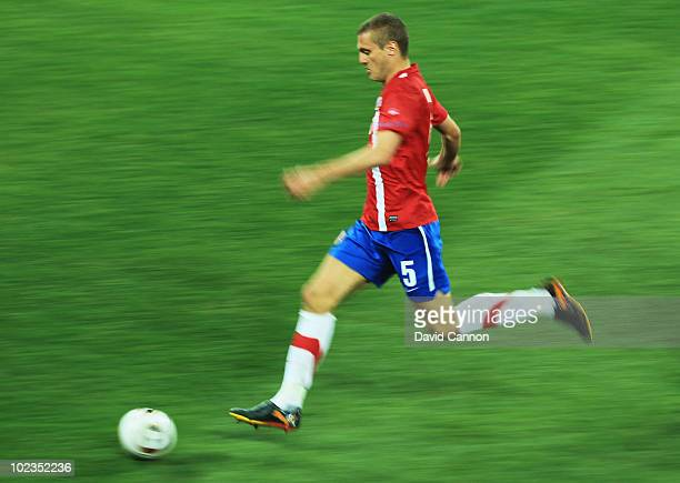 Nemanja Vidic of Serbia runs with the ball during the 2010 FIFA World Cup South Africa Group D match between Australia and Serbia at Mbombela Stadium...