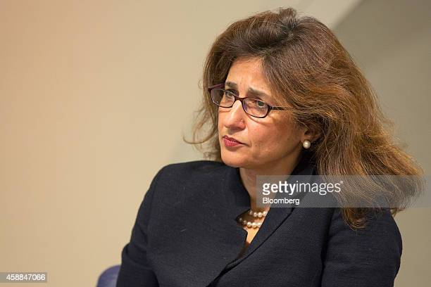 Nemat Shafik deputy governor for markets and banking at the Bank of England listens during the bank's quarterly inflation report news conference in...