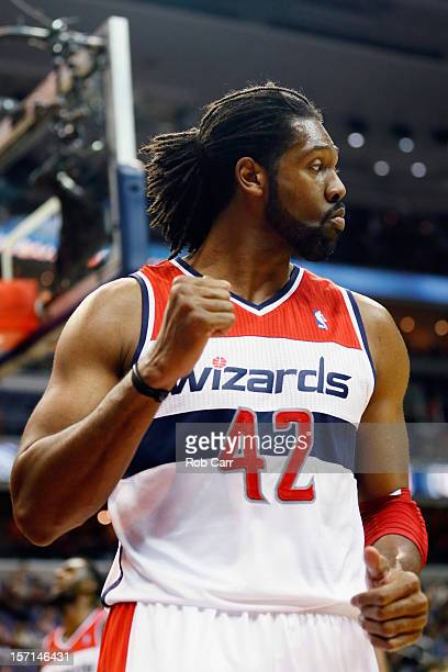 Nenê of the Washington Wizards celebrates after scoring a second half basket during the Wizards 8482 win over the Portland Trail Blazers at Verizon...