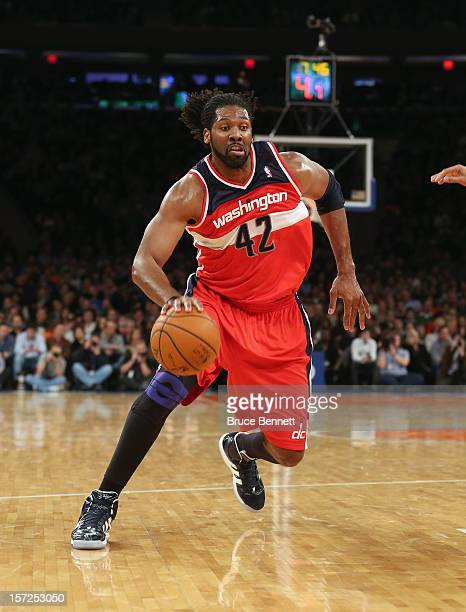 Nenê of the Washington Wizards dribbles the ball against the New York Knicks at Madison Square Garden on November 30 2012 in New York City NOTE TO...
