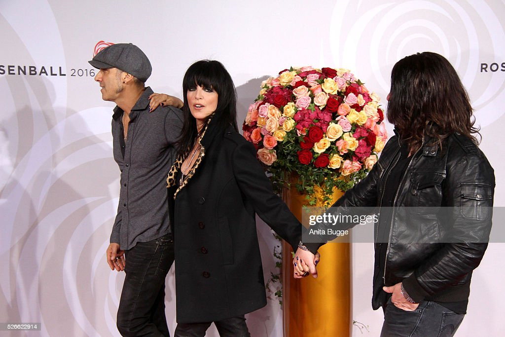 <a gi-track='captionPersonalityLinkClicked' href=/galleries/search?phrase=Nena+-+Cantante&family=editorial&specificpeople=14019354 ng-click='$event.stopPropagation()'>Nena</a> and band members attend the charity event 'Rosenball' at Hotel Intercontinental on April 30, 2016 in Berlin, Germany.