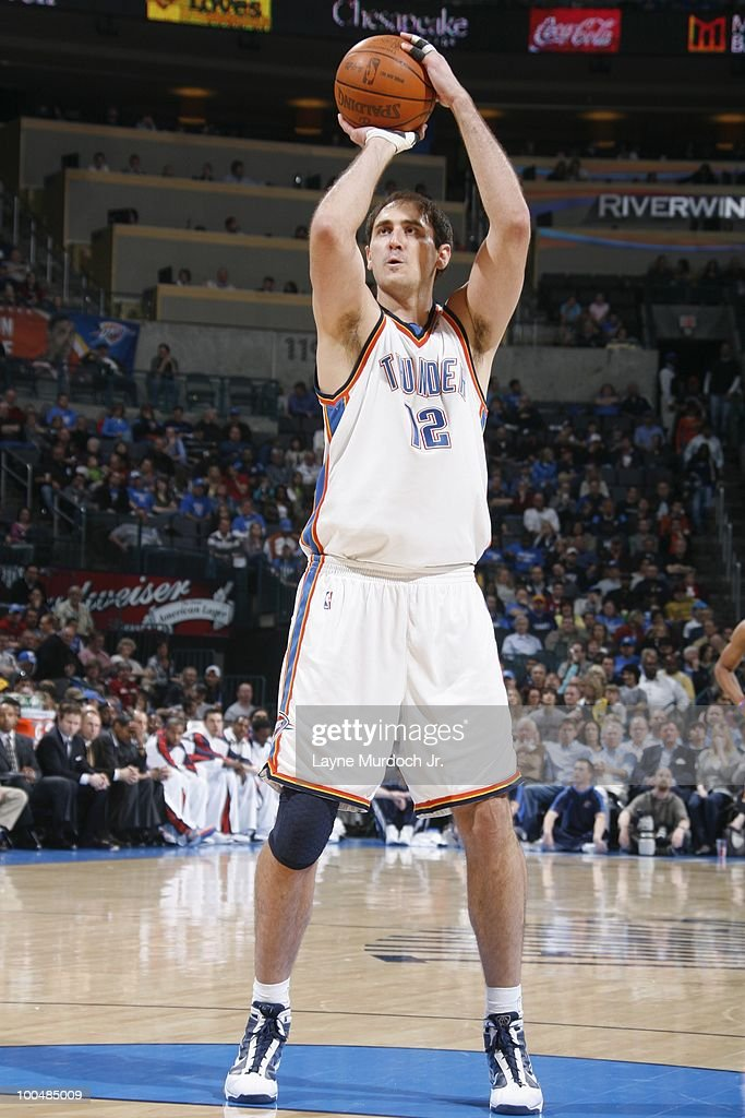 Nenad Krstic #12 of the Oklahoma City Thunder shoots a free throw against the Portland Trailblazers on March 28, 2010 at the Ford Center in Oklahoma City, Oklahoma.