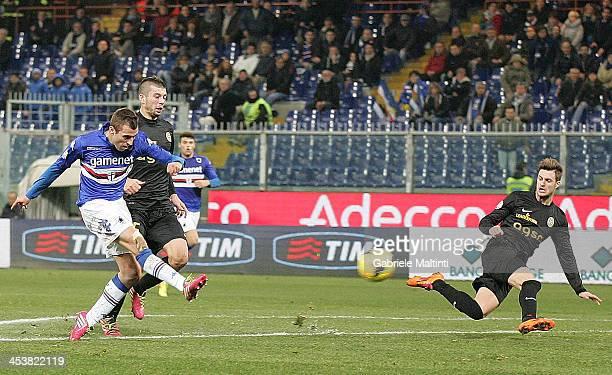 Nenad Krsticic of UC Sampdoria scores a goal during the Tim Cup match between UC Sampdoria and Hellas Verona FC at Stadio Luigi Ferraris on December...