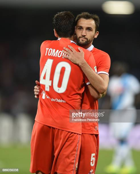 Nenad Tomovic and Milan Badelj players of ACF Fiorentina show their disappointment after the Serie A match between SSC Napoli and ACF Fiorentina at...