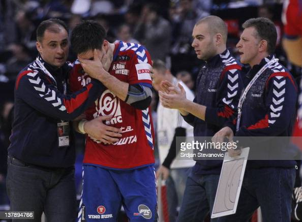 Nenad Vuckovic looks dejected after Serbia lost the match during the Men's European Handball Championship 2012 final match between Serbia and Denmark...