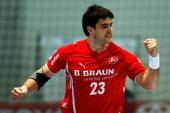 Nenad Vuckovic of Melsungen celebrates a goal during the Toyota Handball Bundesliga match between MT Melsungen and RheinNeckar Loewen at the...