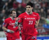 Nenad Vuckovic of Melsungen celebrates scoring a goal during the Toyota Handball Bundesliga match between THW Kiel and MT Melsungen at the...