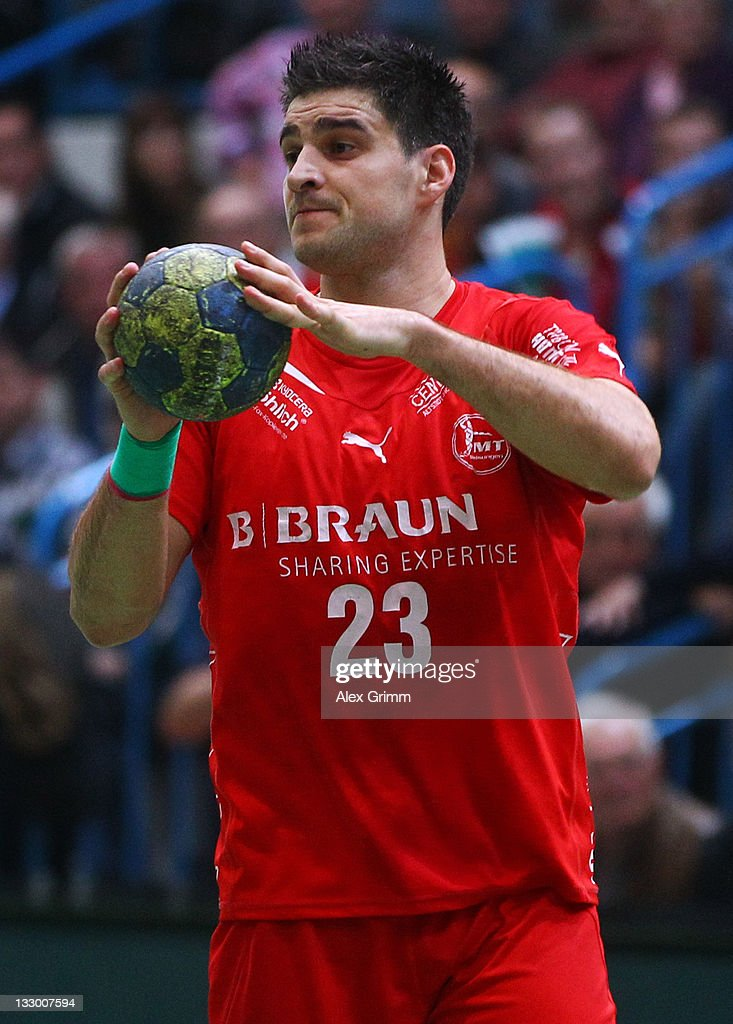 Nenad Vuckovic of Melsungen controles the ball during the Toyota Handball Bundesliga match between T VGrosswallstadt and MT Melsungen at f.a.n. frankenstolz arena on November 11, 2011 in Aschaffenburg, Germany.