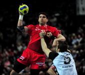 Nenad Vuckovic of Melsungen is challenged by Igor Anic of Kiel during the Toyota Handball Bundesliga match between THW Kiel and MT Melsungen at the...