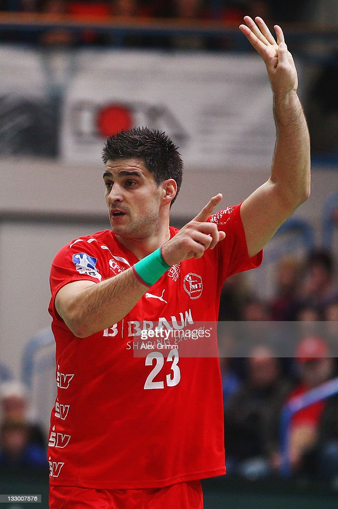 Nenad Vuckovic of Melsungen reacts during the Toyota Handball Bundesliga match between T VGrosswallstadt and MT Melsungen at f.a.n. frankenstolz arena on November 11, 2011 in Aschaffenburg, Germany.