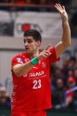 Nenad Vuckovic of Melsungen reacts during the Toyota Handball Bundesliga match between T VGrosswallstadt and MT Melsungen at fan frankenstolz arena...