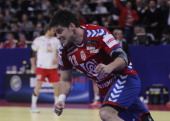 Nenad Vuckovic of Serbia celebrates a goal during the Men's European Handball Championship 2012 final match between Serbia and Denmark at Arena Hall...