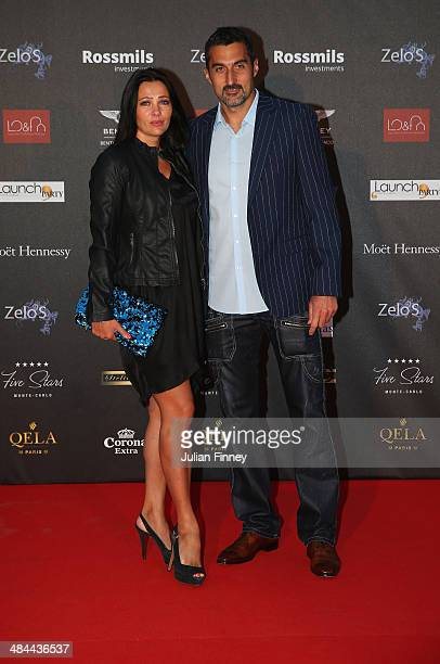 Nenad Zimonjic of Serbia and partner during the ATP Monte Carlo Rolex Masters Launch Party at the Grimaldi Forum on April 12 2014 in Monaco Monaco