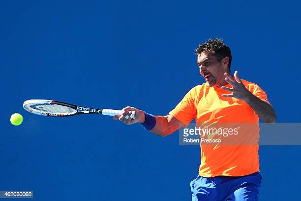Nenad Zimonjic of Serbia in action in their first round mixed doubles match with Yaroslava Shvedova of Kazakhstan against SuWei Hsieh of Chinese...