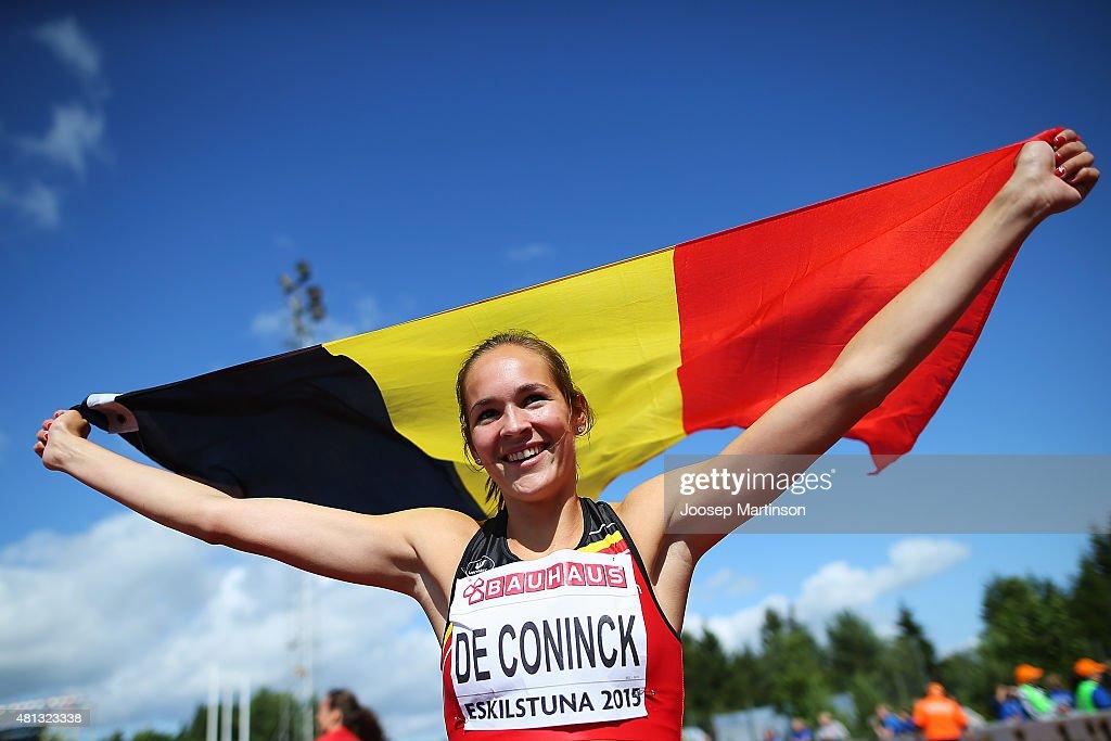 Nenah De Coninck of Belgium celebrates after winning the WomenÕs 400m Hurdles final at Ekangen Arena on July 19 2015 in Eskilstuna Sweden
