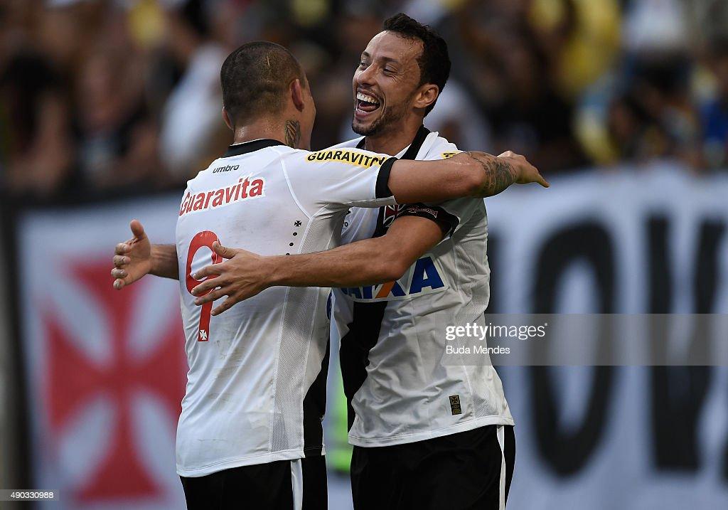 Nene (r) and Leandrao of Vasco celebrates a scored goal during a match between Flamengo and Vasco as part of Brasileirao Series A 2015 at Maracana Stadium on September 27, 2015 in Rio de Janeiro, Brazil.